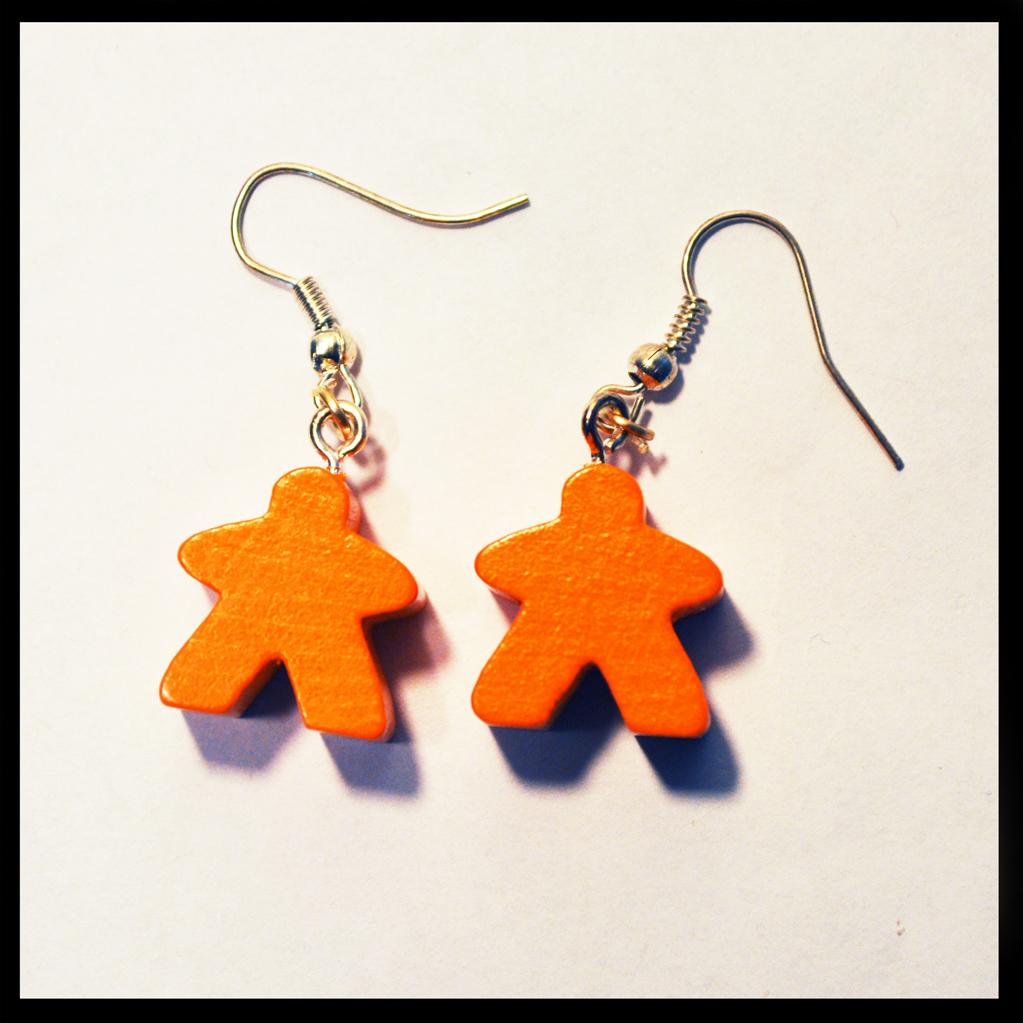 boucles d'oreilles meeples orange