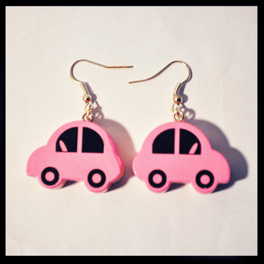 boucles d'oreilles voitures roses