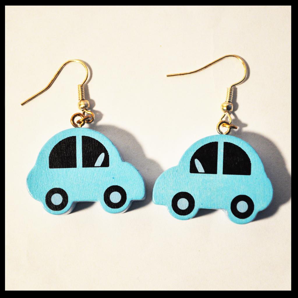 boucles d'oreilles voitures bleues