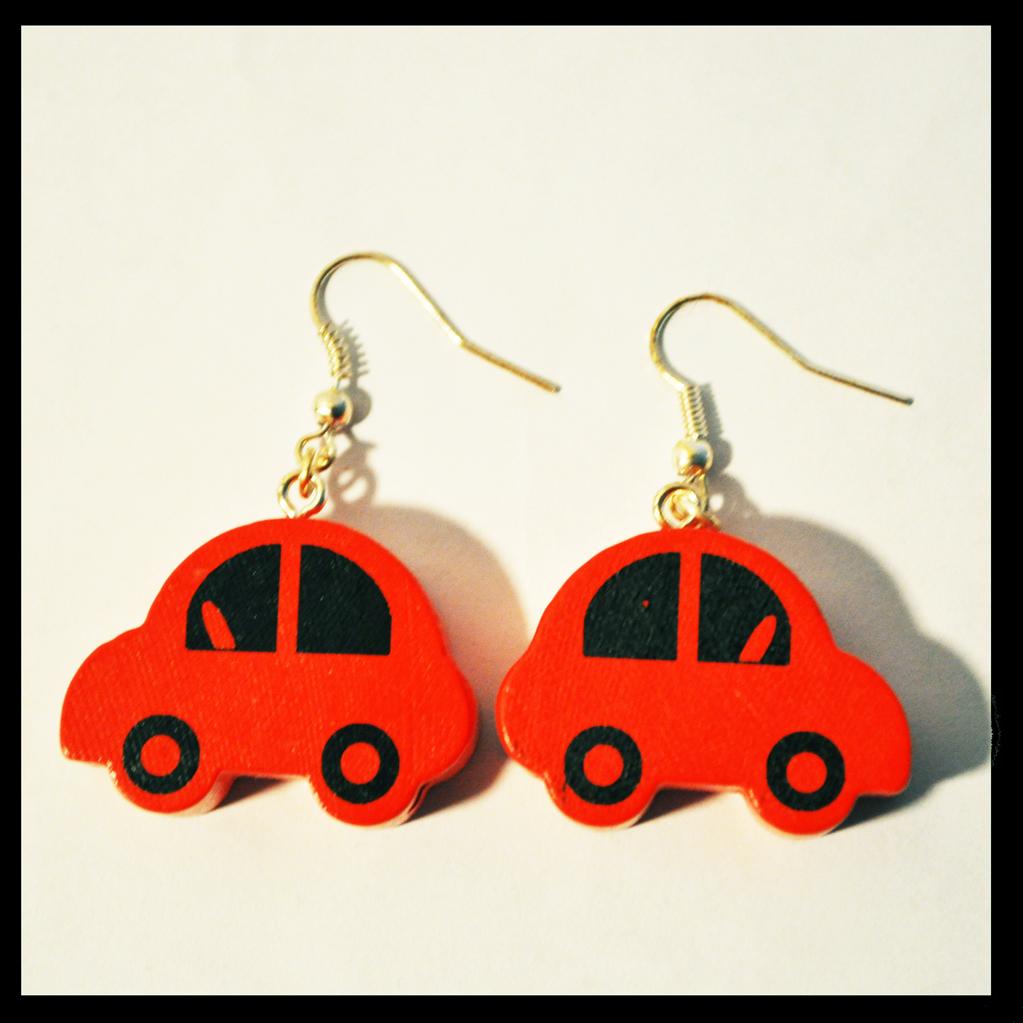 boucles d'oreilles voitures rouges