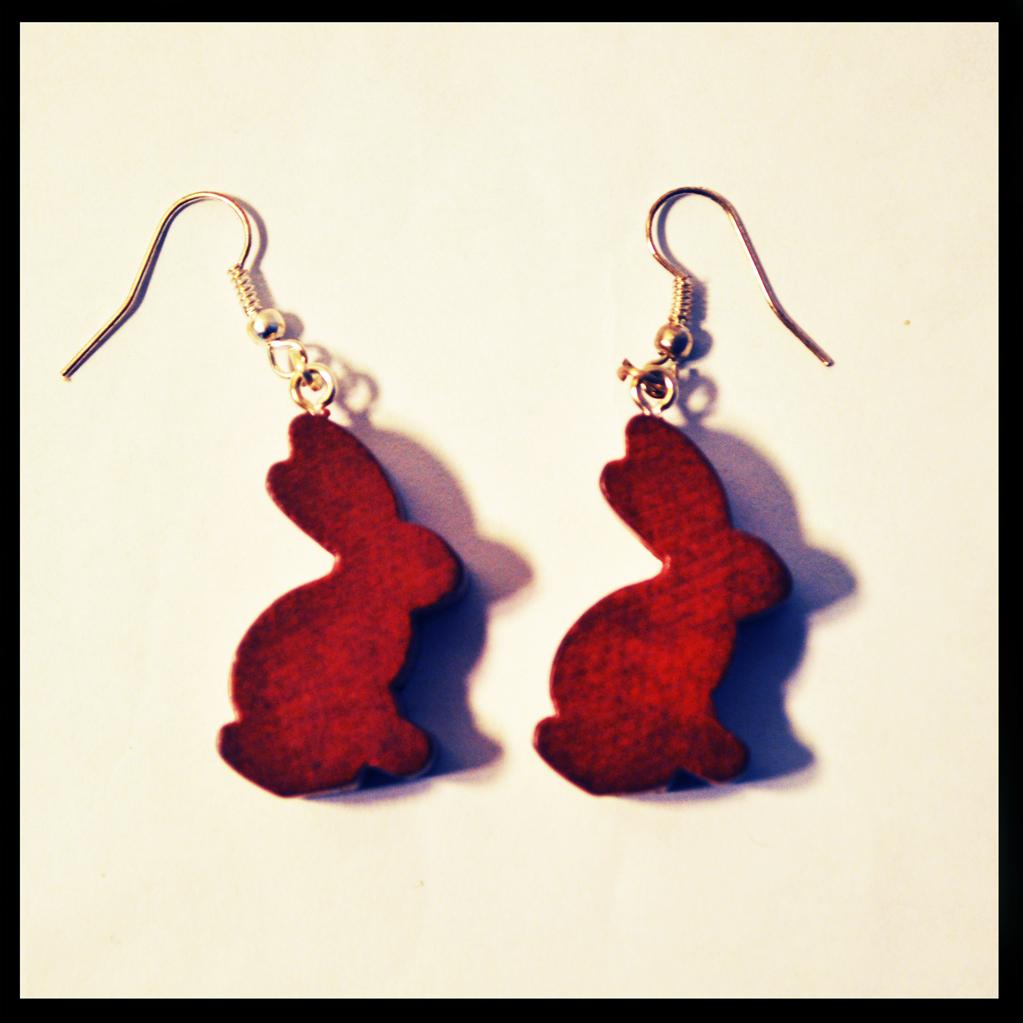 boucles d'oreilles lapins marron
