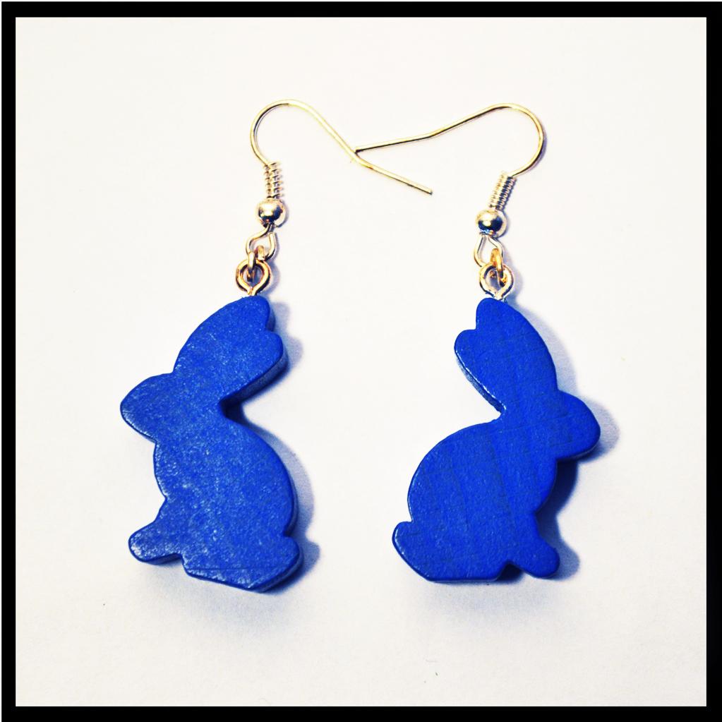 boucles d'oreilles meeples lapins bleus