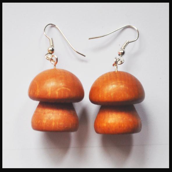 Boucles d'oreilles pions champignons