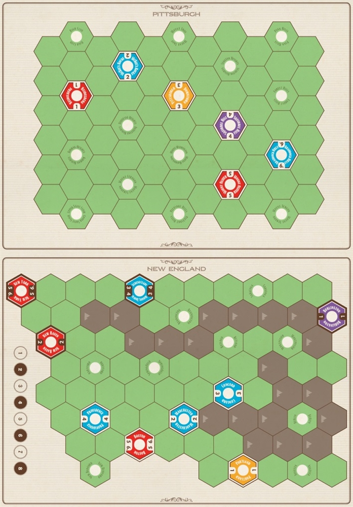 Age of Steam Deluxe : New England / Pittsburgh & Switzerland Maps