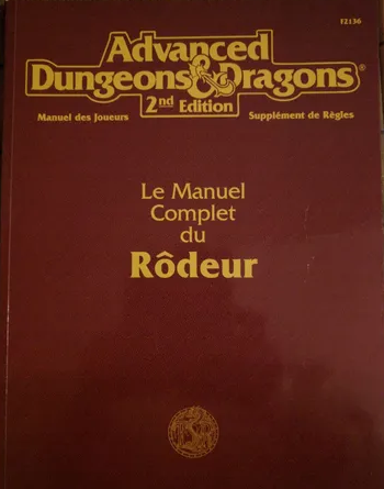 Advanced Dungeons & Dragons - 2ème Edition Vf - Le Manuel Complet Du Rodeur