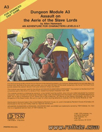 Advanced Dungeons & Dragons - 1st Edition - Module A3 - Assault On The Aerie Of The Slave Lords