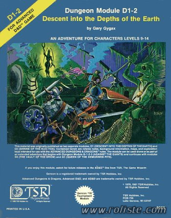 Advanced Dungeons & Dragons - 1st Edition - Module D1-2 - Descent Into The Depths Of The Earth