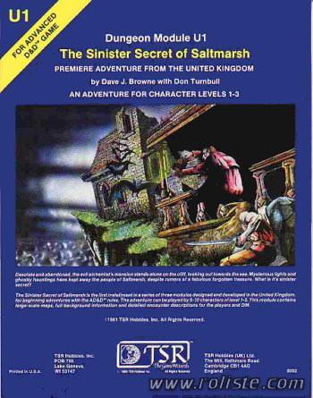 Advanced Dungeons & Dragons - 1st Edition - Module U1 - The Sinister Secret Of Saltmarsh