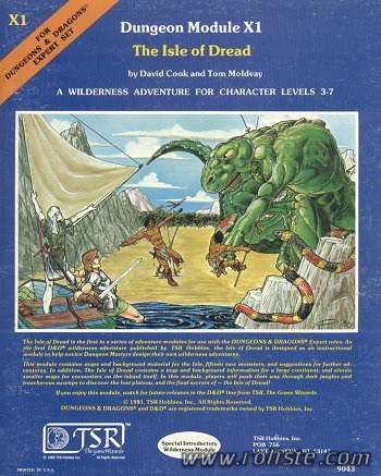 Advanced Dungeons & Dragons - 1st Edition - Module X1 - The Isle Of Dread