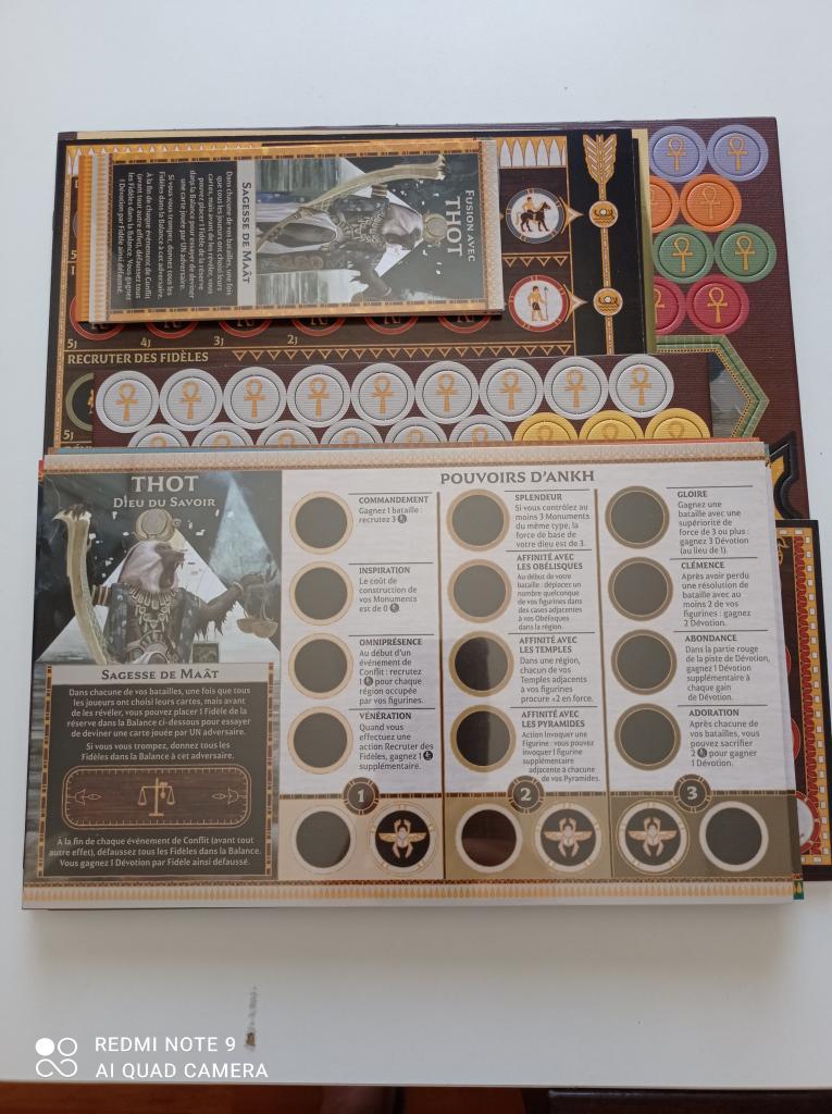 Ankh: Gods Of Egypt - Spare Pions Et Plateaux En Cartons, Cartes Dieux.
